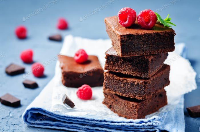 Chocolate cake Brownie with raspberries