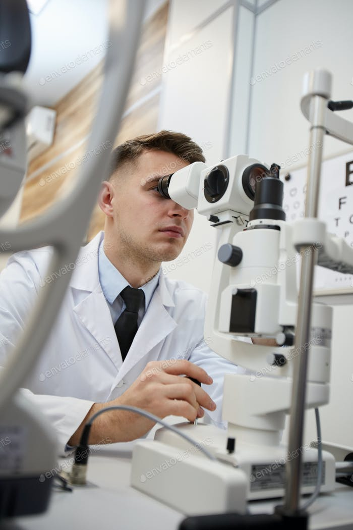 Optometrist Using Vision Test Machines