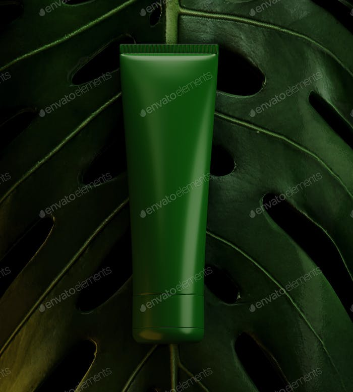 Product placement presentation template with green background, eco abstract modern different style