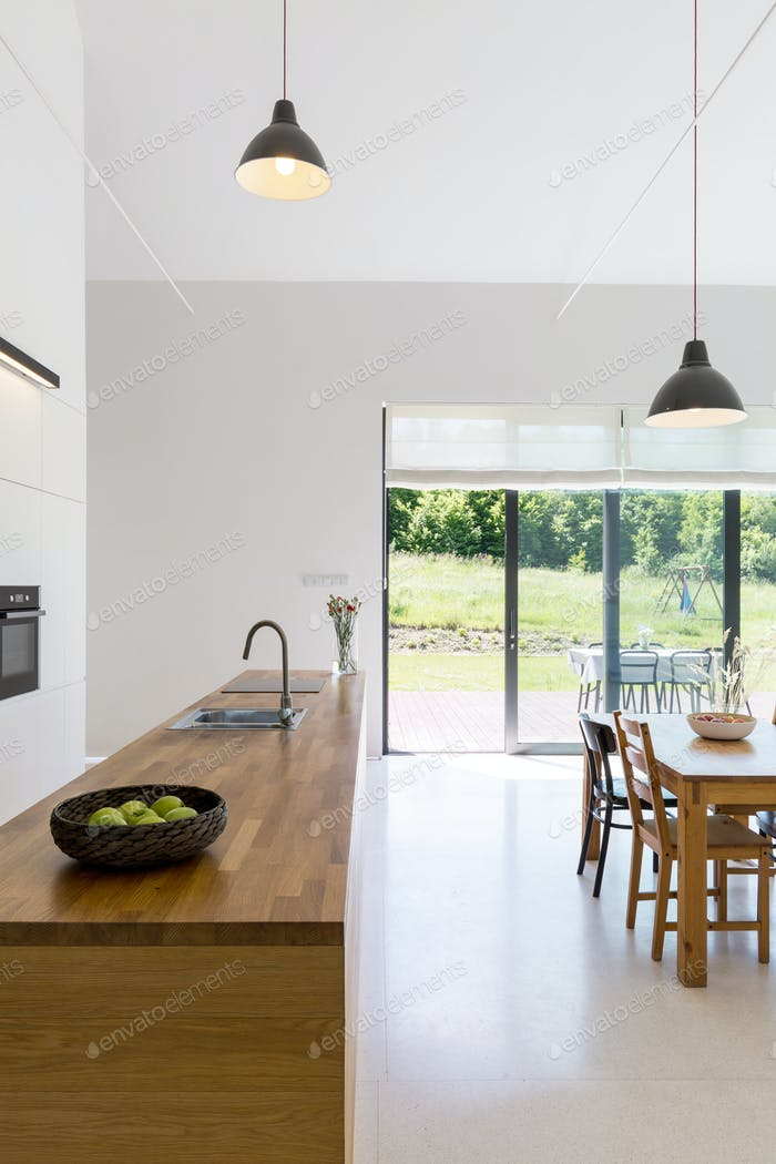 Open space with kitchen countertop
