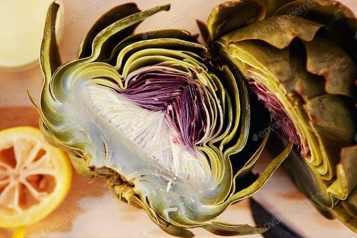 Close up artichoke cut in half
