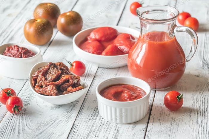 Assortment of products made of tomatoes