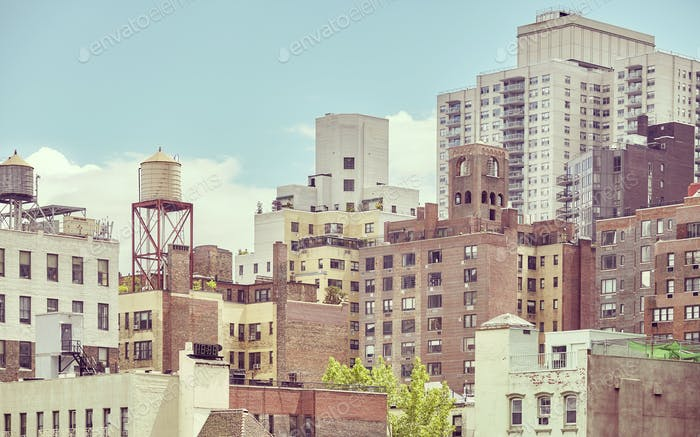 Old residential buildings in New York City, USA.