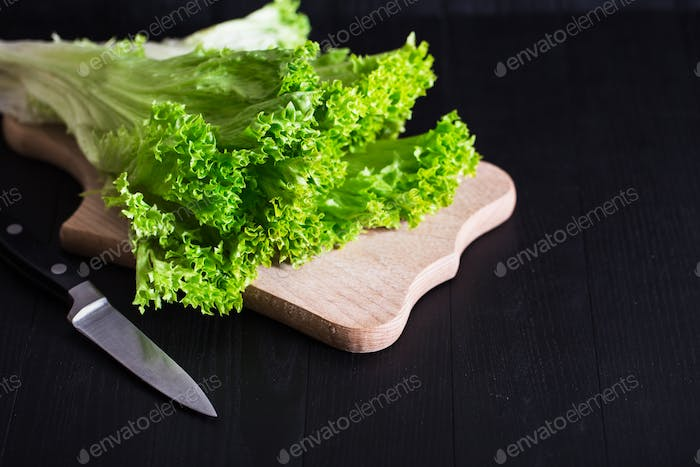 Lettuce on Boards. Cooking
