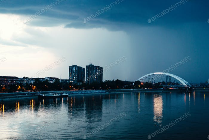 Picture of city of Novi Sad in evening