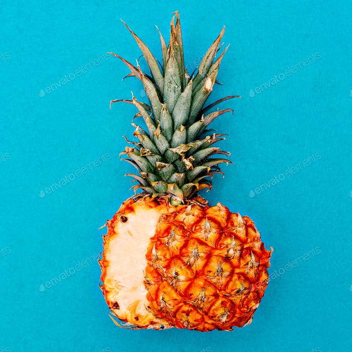 Cut pineapple. Tropical style. Minimal