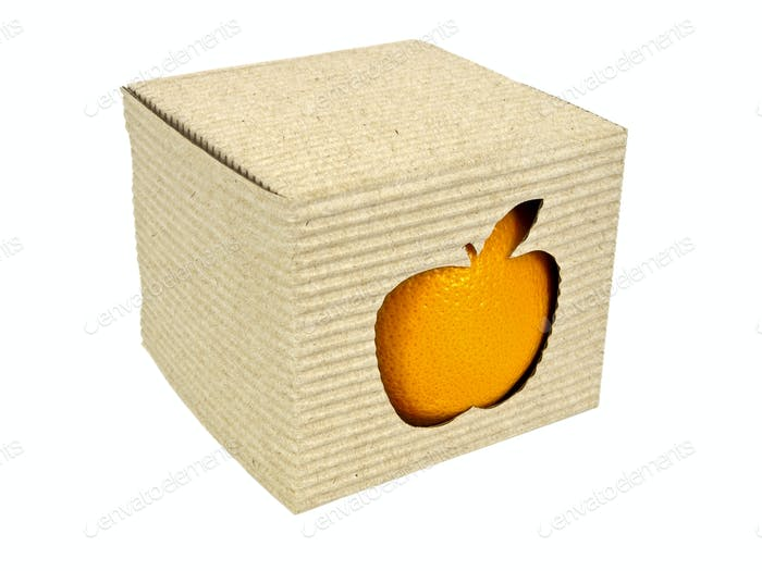 Cartridge box with apple cut-out and orange inside