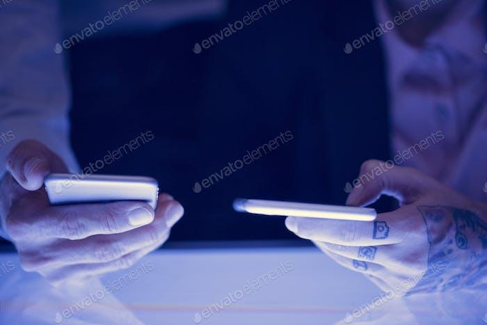 Hands holding smartphone gadget technology