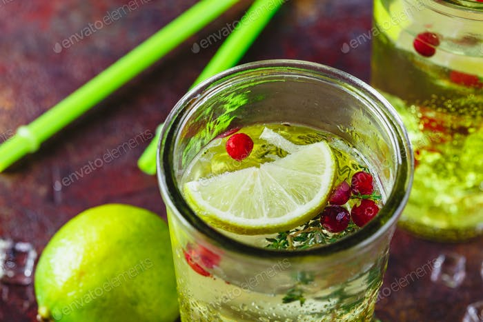 Lime Lemonade with thyme, cranberry and ice.