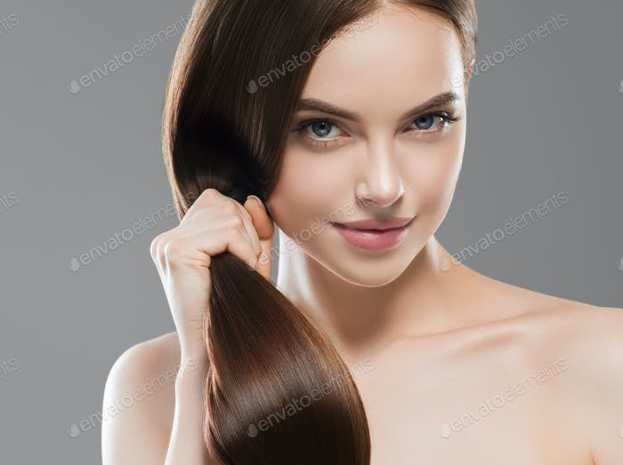 Healthy hair woman long brunette hairstyle strong and shine