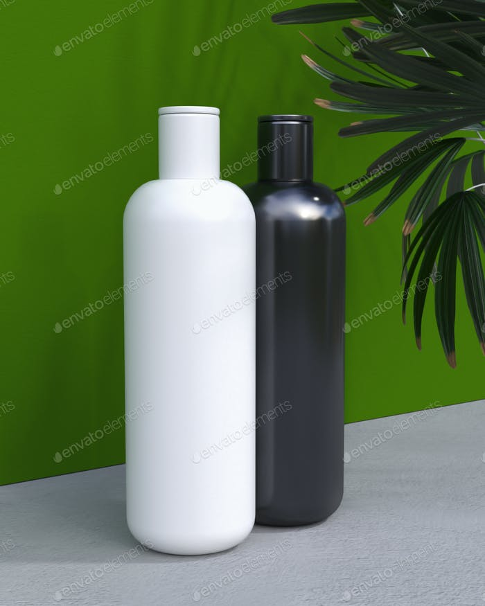 natürliche kosmetische Creme oder Shampoo, Serum, Hautpflege leere Flasche Verpackung mit Blättern herb. Bio