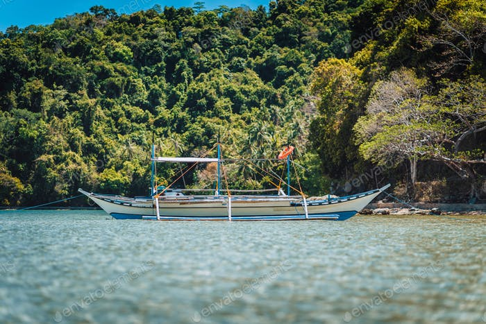 Boat on water surface in El Nido bay with jungle in background, Palawan, Philippines