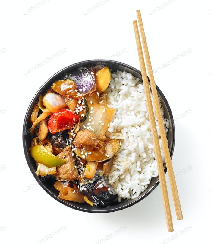 bowl of asian food