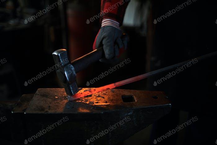 Forging on anvil