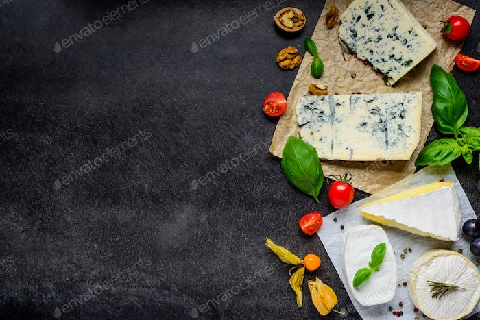 Danish Blue Cheese and Camembert on Copy Space