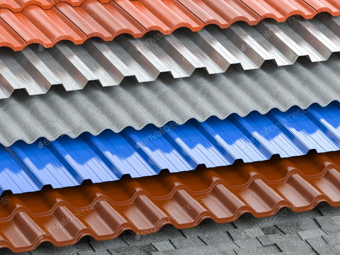 Different types of roof coating. Background from layers of sheet