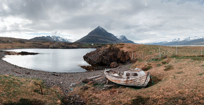 Typical Iceland landscape with ship
