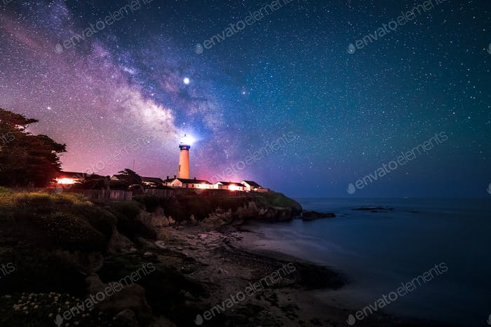 Milky Way at Pigeon Point Lighthouse, Pescadero, California