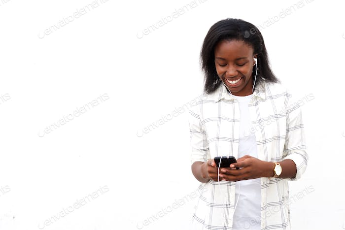 Woman listening music on mobile