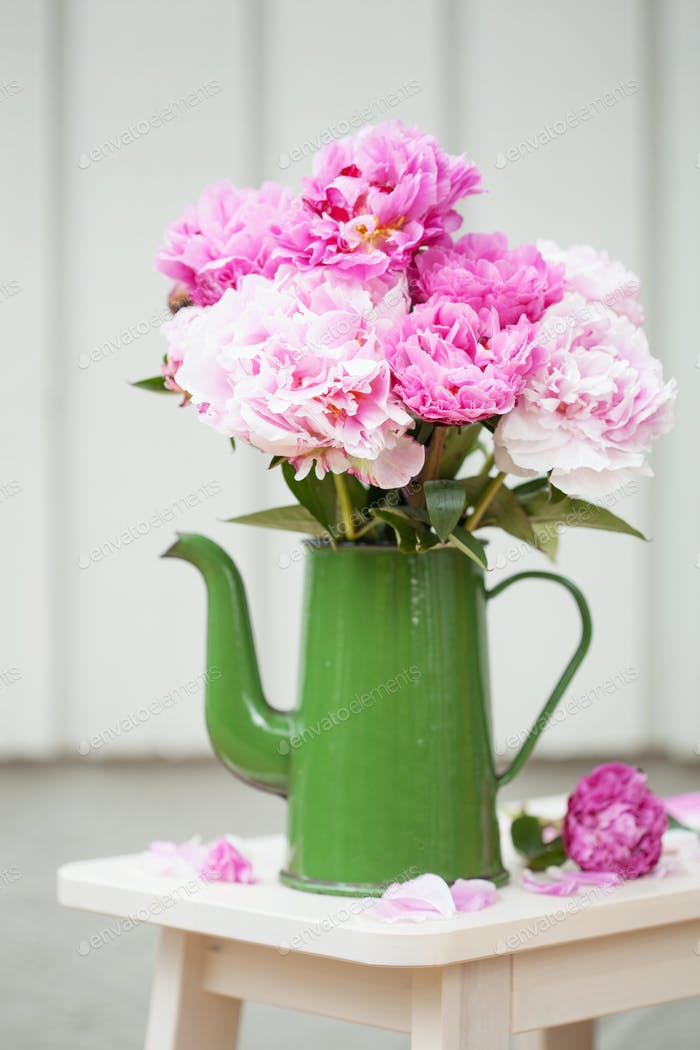 beautiful pink peony flowers bouquet in garden