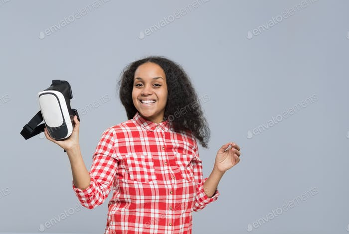 Young Woman Hold Virtual Reality Digital Glasses African American Girl Happy Smile
