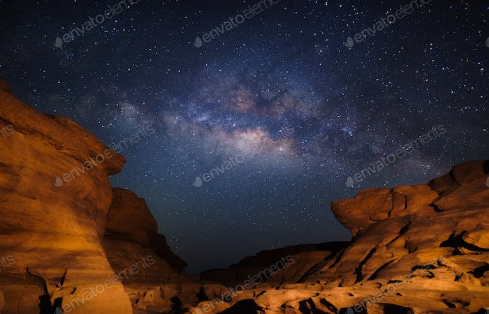 Milky way at Sam Pan Bok grand canyon, Ubon ratchathani, Thailand