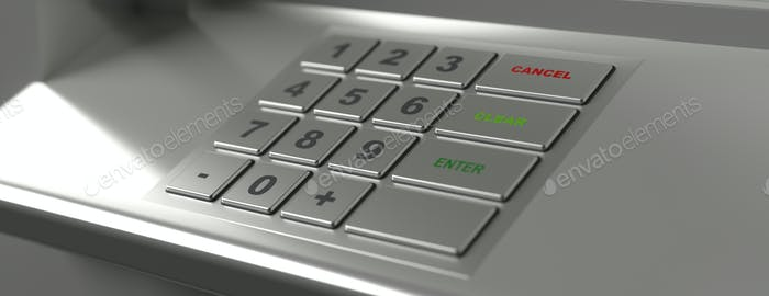 ATM machine keypad, banner, closeup view. 3d illustration