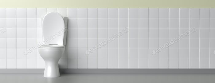 Toilet bowl on white background, banner. 3d illustration