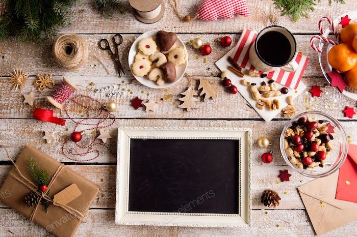 Christmas composition, studio shot, wooden background