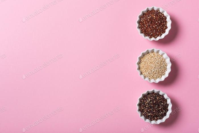 Quinoa in white bowls
