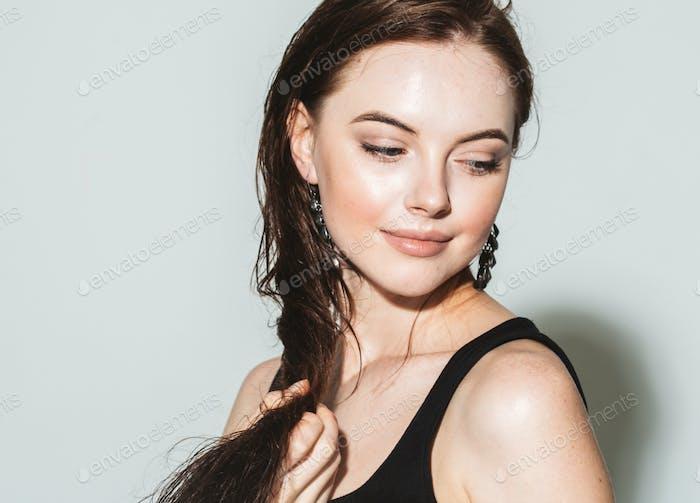 Long Wet Hair Woman Beauty Portrait