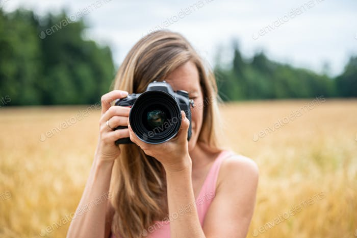 Woman making photos