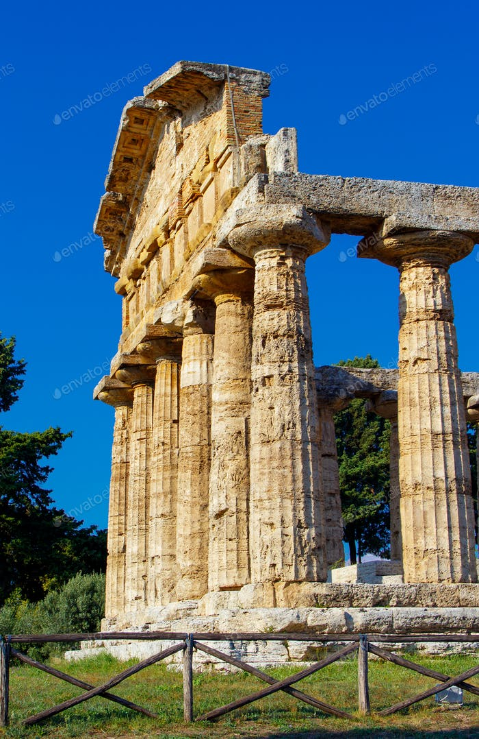 The greek Temple of Athena. Paestum, Italy