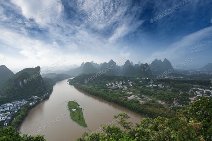 karst landform under blue sky in yangshuo