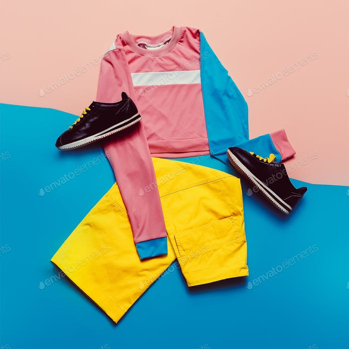 Stylish sports blouse and pants. Pastel trend. Fashion Accessori