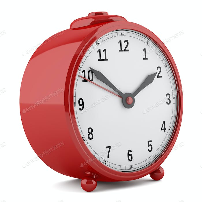 red alarm clock isolated on white background. 3d illustration
