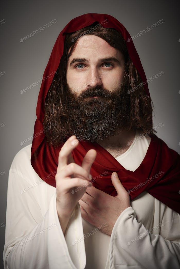 Porträt von Jesus auf Gewand Segen alle