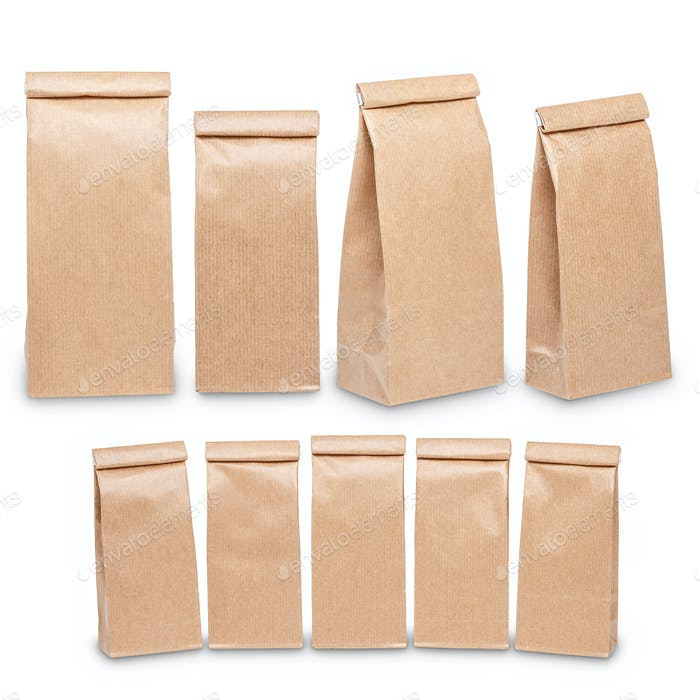 Set of brown craft paper bag packaging template