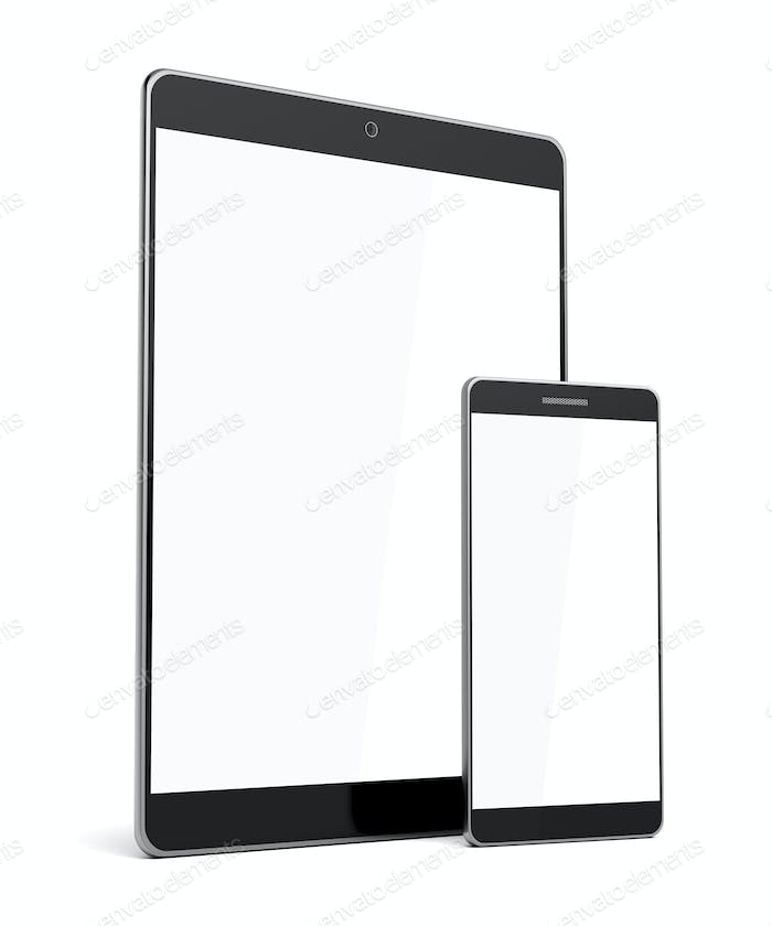 Smartphone and tablet computer with blank screens on white background