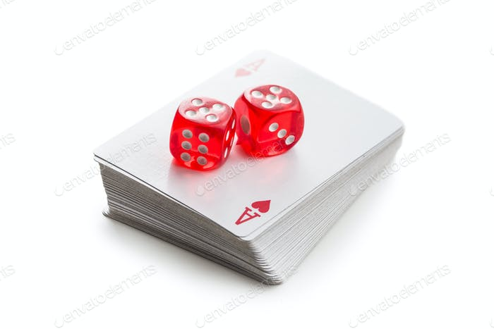 Dice and poker cards.