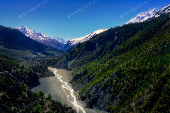 Landscape view of mountain valley and river in Himalayas, Annapurna region