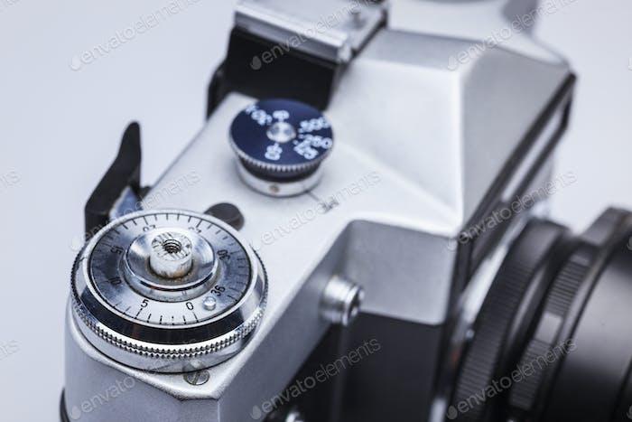Primer plano de la vieja lente de la cámara de Película Retro