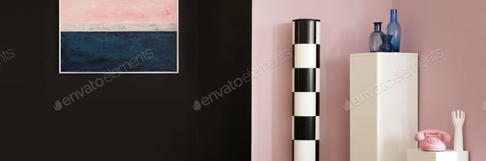 Black and pink wall