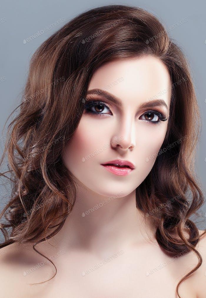 Beautiful Woman Brunette Healthy Beauty Skin Smile. Spa Beautiful Model Girl Cute