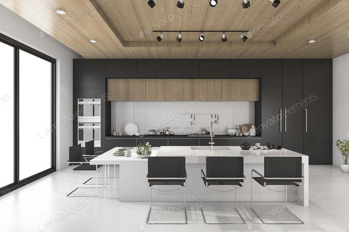 3d rendering black kitchen with wood ceiling