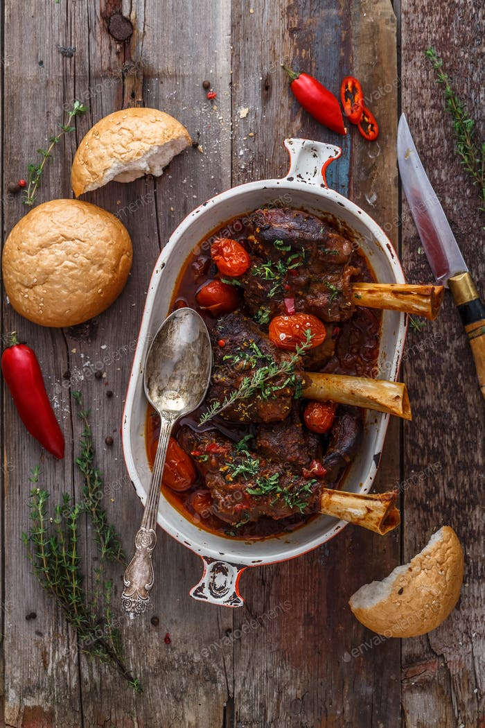 Braised lamb shanks turkish cuisine, top view rustic style