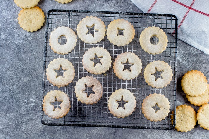 Holiday Sweet Food. Process making of cookies. Christmas Linzer cookies