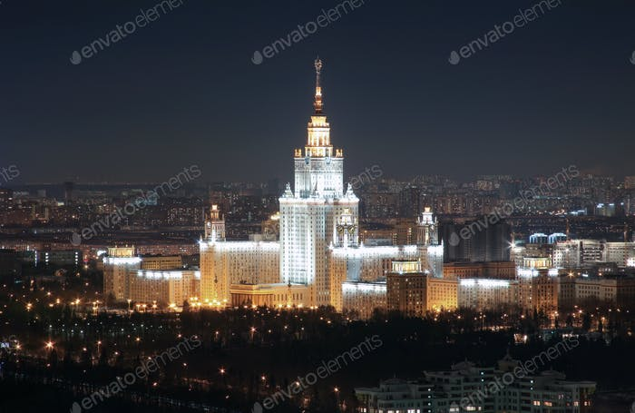 The Soviet University, top view, night