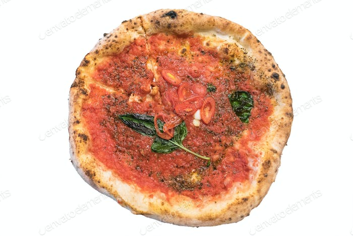Pizza napoletana isolated on white background