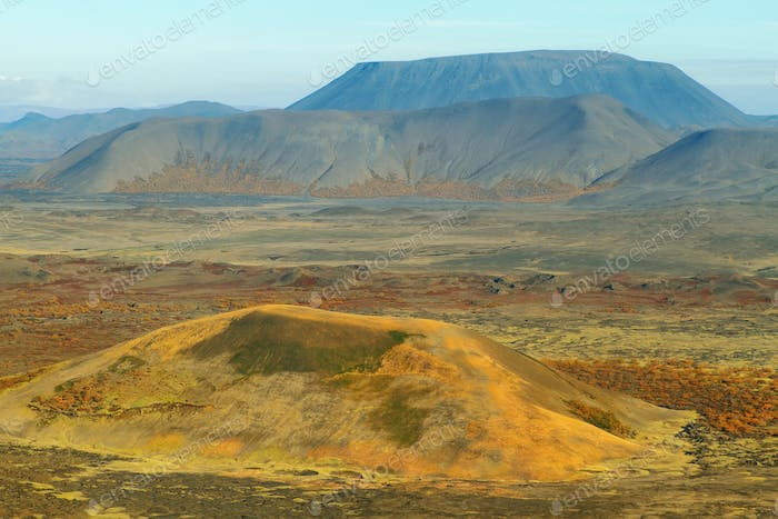 Aerial view of mountains and volcanic landscape